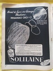 Solilaine Softener Old Antique Print Advert Pub. Paper French Magazine 50's