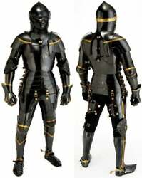Stainless Steel Medieval Knight Black Suit Of Armor Combat Full Body Halloween