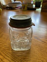 Vintage Drey Clear Square Mason Pint Canning Jar W Porcelain Lid And Rubber Seal
