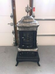 Fuller And Warren Antique Parlor Stove 1890and039s Restored Cast Iron And Nickle
