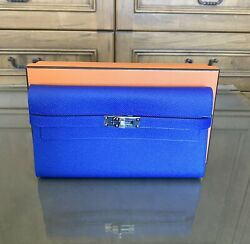 Hermes Kelly Blue Electric Epsom Long Classic Wallet - New
