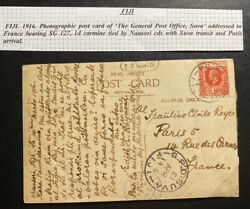 1919 Nausori Fiji Real Picture Postcard Cover To Paris France General Post Offic