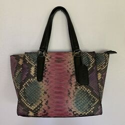 Coach Crosby Mini Carryall In Python Embossed Leather With Black Antique Nickel