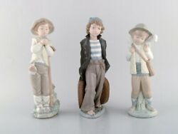 Lladro, Nao And Zaphir, Spain. Three Porcelain Figurines. Young Boys. 1980's.