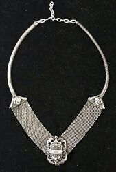 Antique Sterling Silver Necklace Very Detaied Medallion Crest
