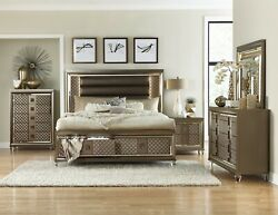 4 Pc Champagne Metallic Gold Led Embossed Storage Queen Bed Ns Dresser Furniture
