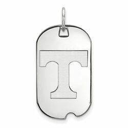 14k White Gold Tennessee Volunteers School Letter Logo Dog Tag Charm Pendant
