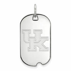 14k White Gold Kentucky Wildcats School Letters Logo Dog Tag Charm Pendant