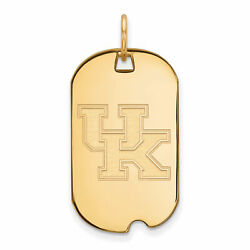 14k Yellow Gold Kentucky Wildcats School Letters Logo Dog Tag Charm Pendant