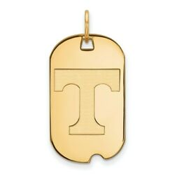 14k Yellow Gold Tennessee Volunteers School Letter Logo Dog Tag Charm Pendant