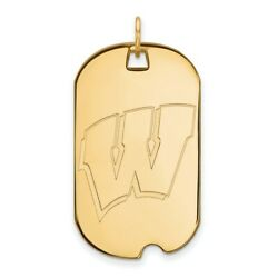 14k Yellow Gold Wisconsin Badgers School Letter Logo Dog Tag Charm Pendant