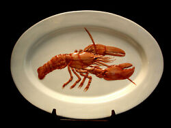 A La Carte / Embossed Lobster Large Oval Serving Platter 19 Made In Italy