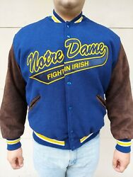 Notre Dame Fighting Irish Delong Letterman's Jacket Xl Wool And Suede Retro