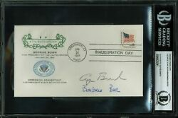 George H.w. Bush And Barbara Bush Signed 1981 First Day Inauguration Cover Bas