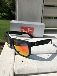 New Ray Ban RB4165 Justin 622 6Q Black Red Sunglasses Free Fast Shipping $62.00