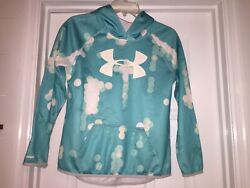 Under Armour Hoodie Sweatshirt Size Youth Large Girls Loose Cold Gear Blue White $14.00
