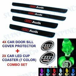 Blue Border Car Door Scuff Sill Cover Panel Step Protector LED COASTER For Audi