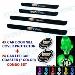 Blue Border Car Door Scuff Sill Cover Panel Step Protector COASTER For Cadillac