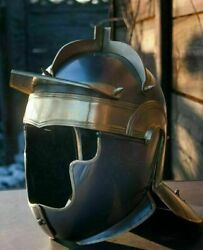 18g Steel And Brass Medieval Knight Auxiliary Roman Helmet Cosplay Replica Costume