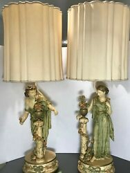 L And F Moreau French Art Nouveau Spelter Figural Table Lamps Pair