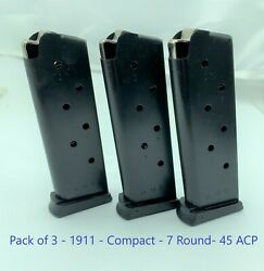3 Pack Compact 1911 Officers 45 Acp 7rd Steel Pistol Magazine Cs Colt Defender