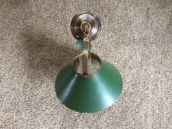 Vintage Brass And Metal Hanging Ceiling Hurricane Style Lamp With Chimney