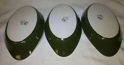 Set of 3 Vtg HALL 705 Ceramic Dark Green Brown Oval Single Serve Baking Dishes