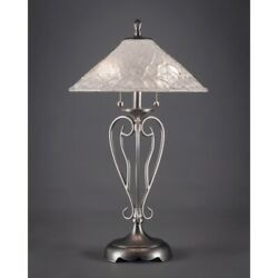 Toltec Lighting Olde Iron Table Lamp 16and039 Italian Bubble Glass - 42-bn-411