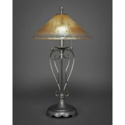 Toltec Lighting Olde Iron Table Lamp 16and039 Amber Crystal Glass - 42-bn-710