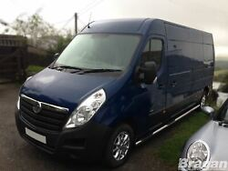 To Fit 2010+ Renault Master Swb Stainless Tube Skirt 3 Side Bars + Step Pads X4