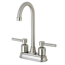Kingston Brass Concord Fb498dl 4 Centerset High-arch Spout Bar Faucet, Brushed