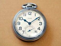 Elgin Small Seconds Antique Pocket Watch Manual Winding 9jewels 50mm 1940's