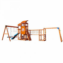 Kids Outdoor Swing Set Playhouse Solid Wood Roof 12 Children Play Climber Game