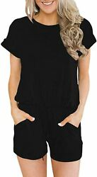 Anrabess Women's Summer Solid Jumpsuit Casual Loose Short Sleeve Jumpsuit Romper