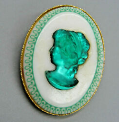 Antique Vintage Old Emerald Jade Green Cameo Glass Celluloid Brooch Pin Pendant