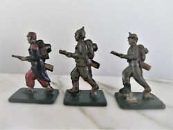 3 Antique Wwi Soldiers Tin Litho German Penny Toy By Meier