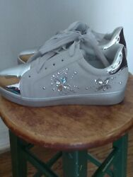 Via Pinky Collection Ella-22 Silver Shoes W/ Metallic Toe And Crystal Butterflies