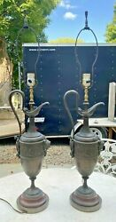Pair Of Antique Victorian Cast Metal Figural Ewer Form Table Lamps