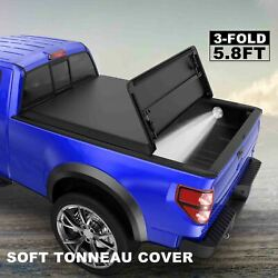 3 Fold 5.8ft Truck Bed Soft Tonneau Cover For 19-21 Silverado Sierra 1500 And Lamp