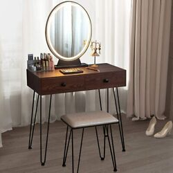 New Makeup Vanity Table Stool Movable Mirror w Touch LED Light 2 Drawers Brown