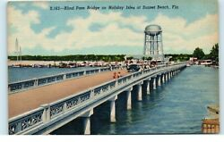 Postcard FL Blind Pass Bridge on Holiday Isles at Sunset Beach Old Cars Boats $5.99