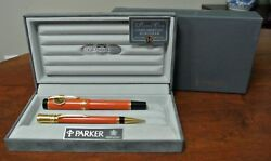 Parker Duofold Set Special Edition Orange Fountain Pen Broad Pt And Pencil In Bx