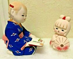 Pair Japanese Porcelain Doll Figurines Set Of 2 - Pre-owned