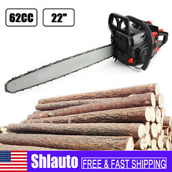 62cc Chainsaw 22 Bar Powered Engine 2 Cycle Gasoline Chain Saw Red