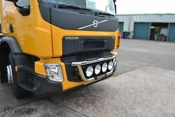 To Fit 2013+ Volvo Fe Stainless Steel Front Grill Light Lamp Bar A + Step Pads