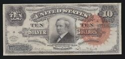 Us 1886 10 Tombstone Silver Certificate Ornate Back Fr 293 Vf 201