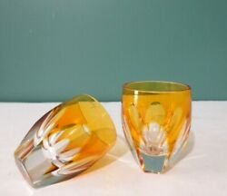 Rare Set Of Two Lausanne By Faberge Signed Amber Vodka Shot Glasses - Cased Cut