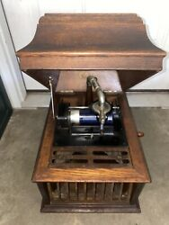 Early 1900andrsquos Vintage Edison Amberola Phonograph Cylinder Record Player