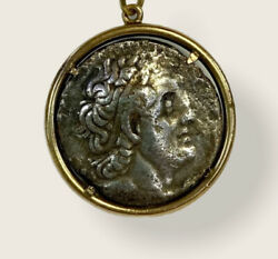 14k Yellow Gold Pendant W/ Greece Ptolemaic Kingdom Tetradrachm With Eagle Coin