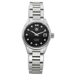 Tag Heuer Carrera War2413 Black Diamond Dial Stainless Automatic Womenand039s Watch